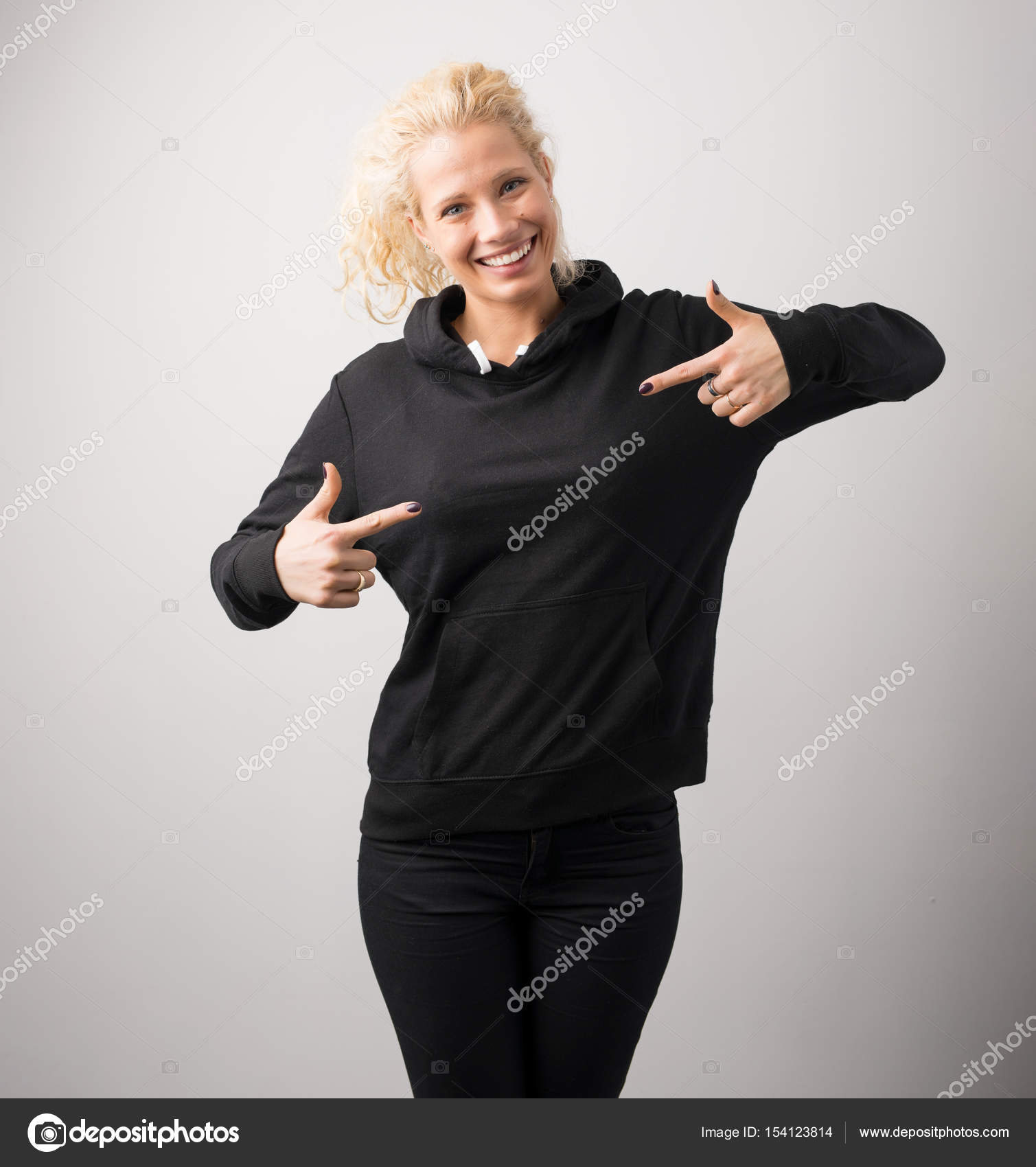 woman in black hoodie template for your own design stock photo