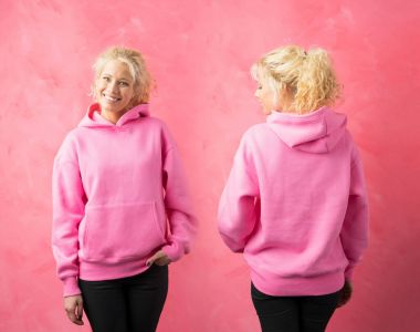 Woman wearing pink hoodie, template for promo print design