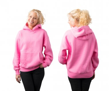 Woman wearing empty pink hoodie, mockup for your own design