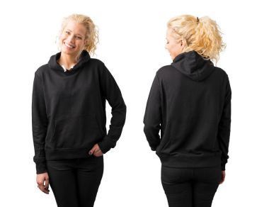 Woman in black blank hoodie on white background