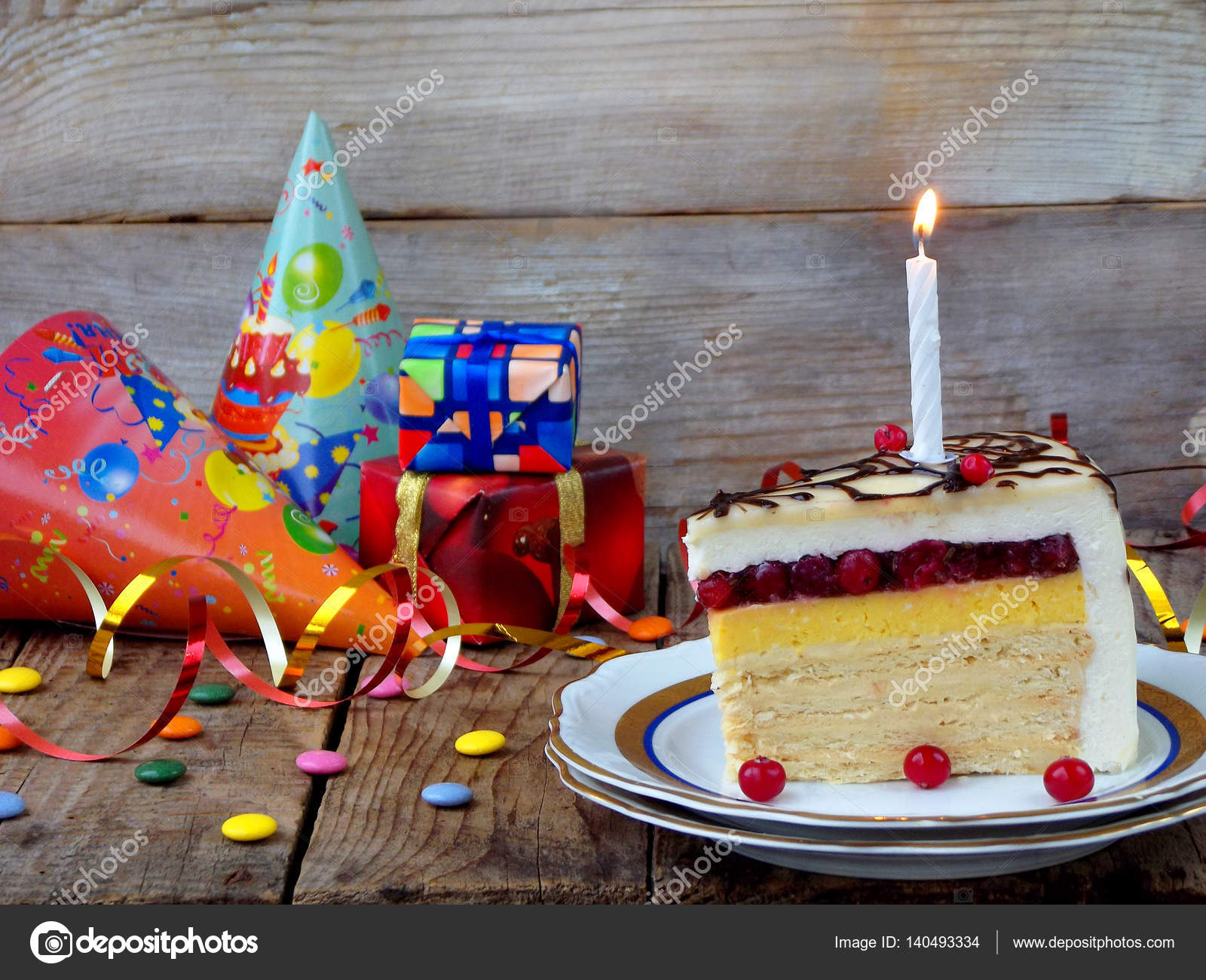 Piece Of Cake Napoleon With Lighted Candles Birthday Side View