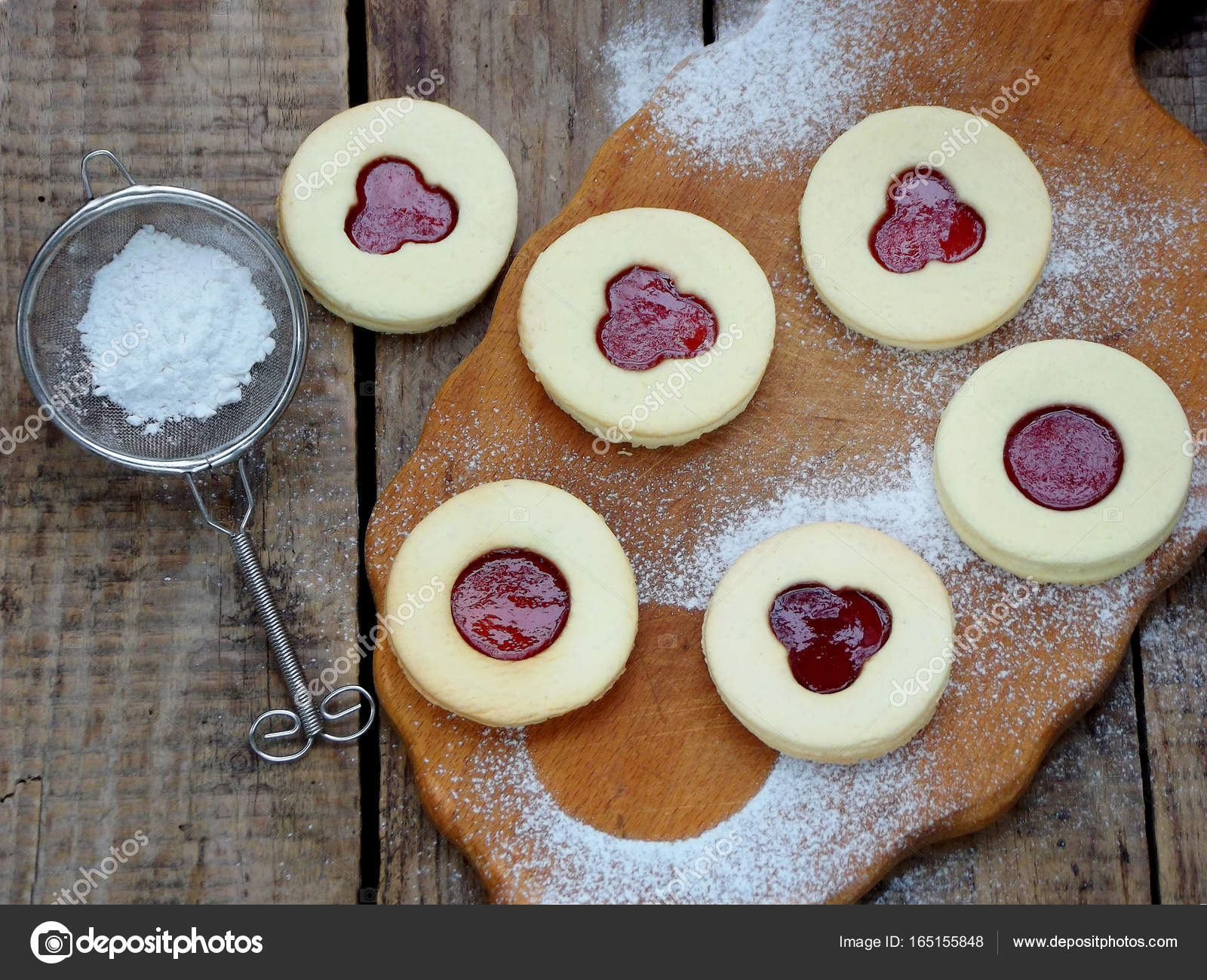 Traditional Homemade Christmas Cookies Linzer Biscuits Filled With
