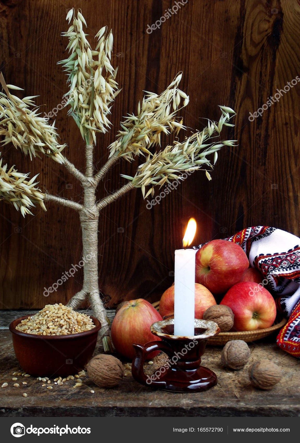 Ukrainian christmas concept for greeting card composition of xmas ukrainian christmas concept for greeting card composition of xmas symbol didukh burning candle m4hsunfo