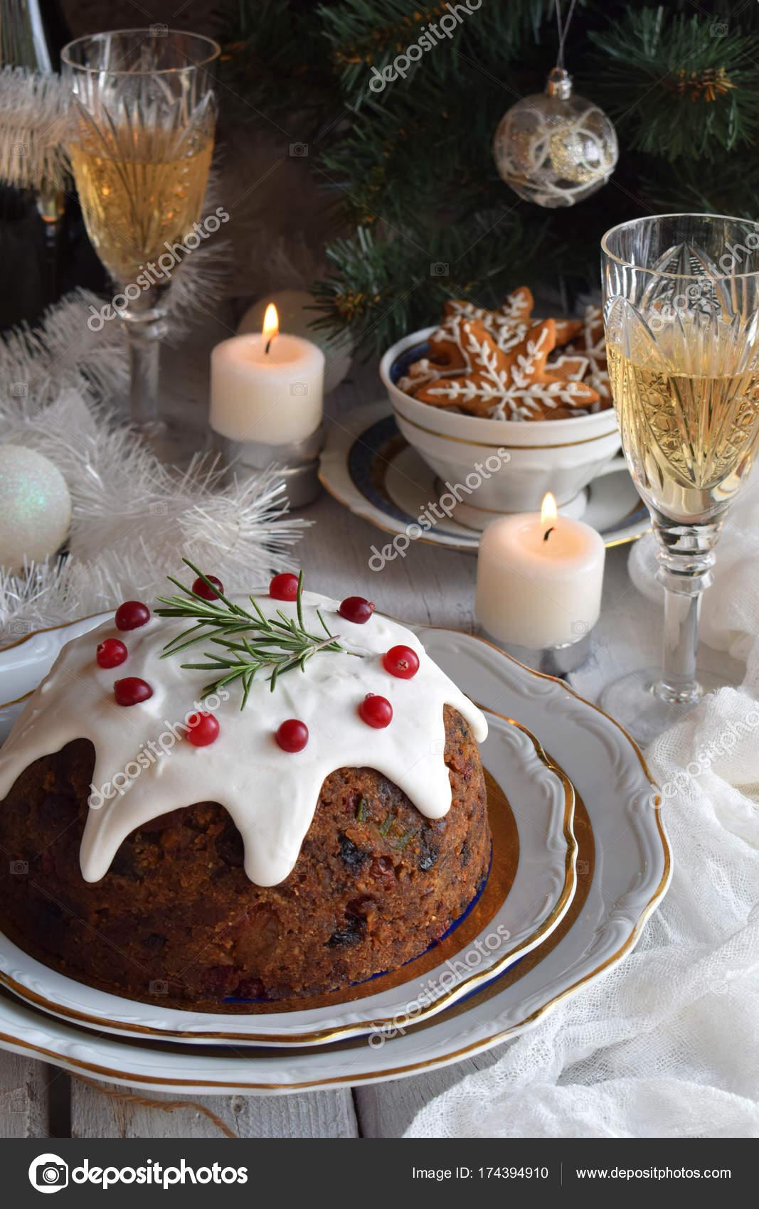 Traditionele Engels Kerst Gestoomde Pudding Met Winter