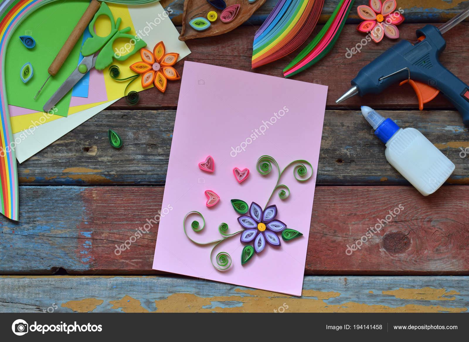 Quilling Technique Paper Strips Flowers Scissors Elements