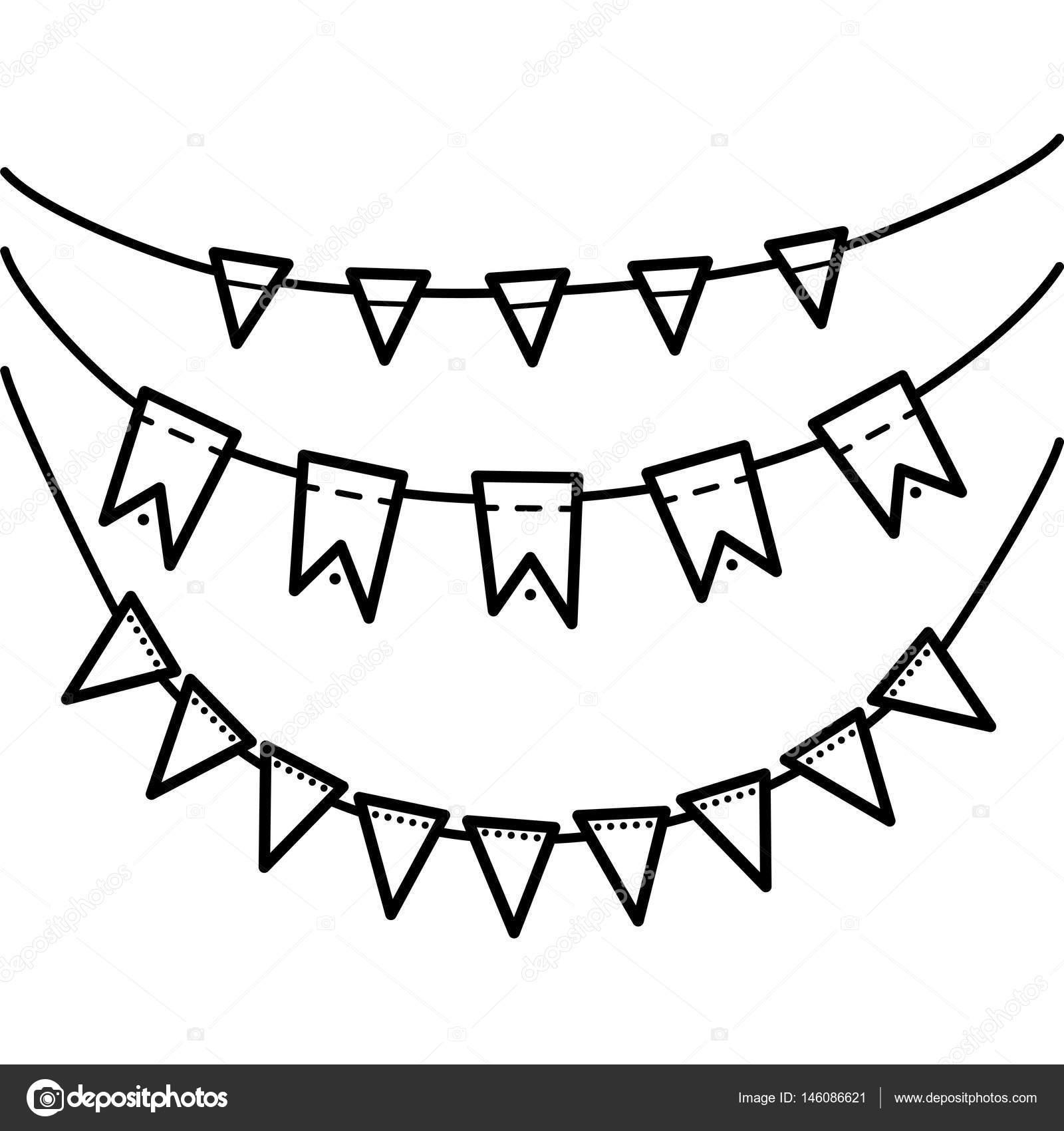 Lineal y negro dibujo de banderas — Vector de stock © ElenaLarvatus ...