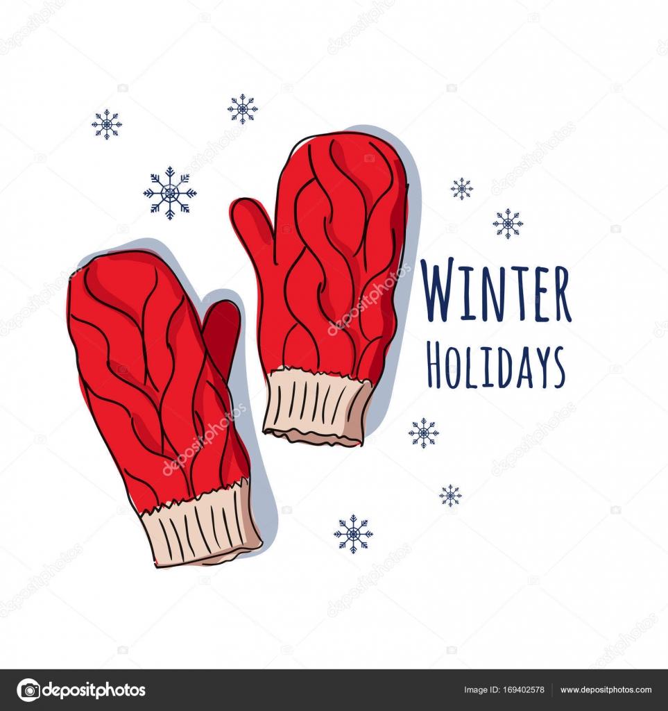 冬のミトンベクトル イラストはがきやポスター服のプリント正月と