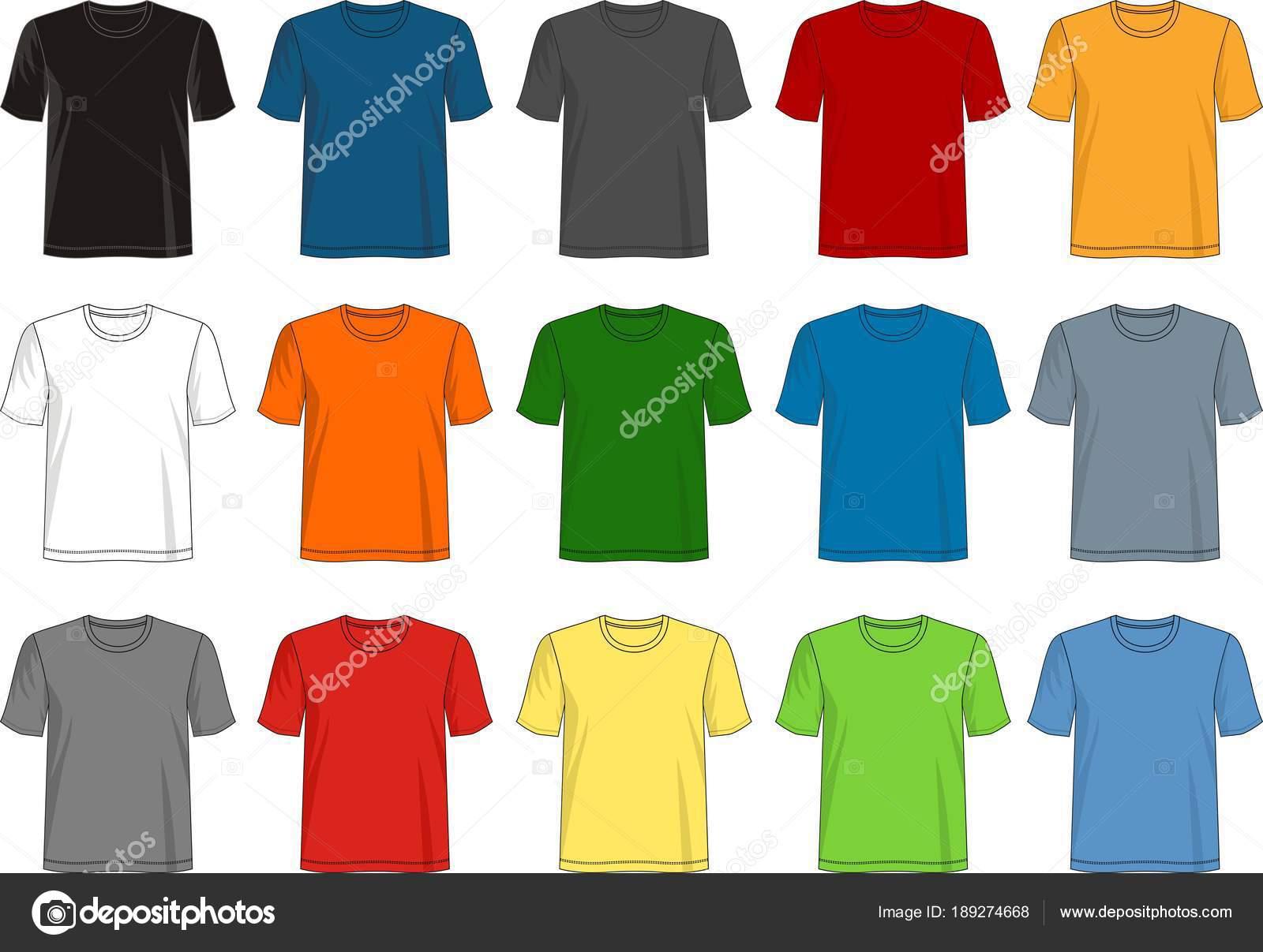 Vector Design Shirt Template Collection Men Color Black White Gray ...