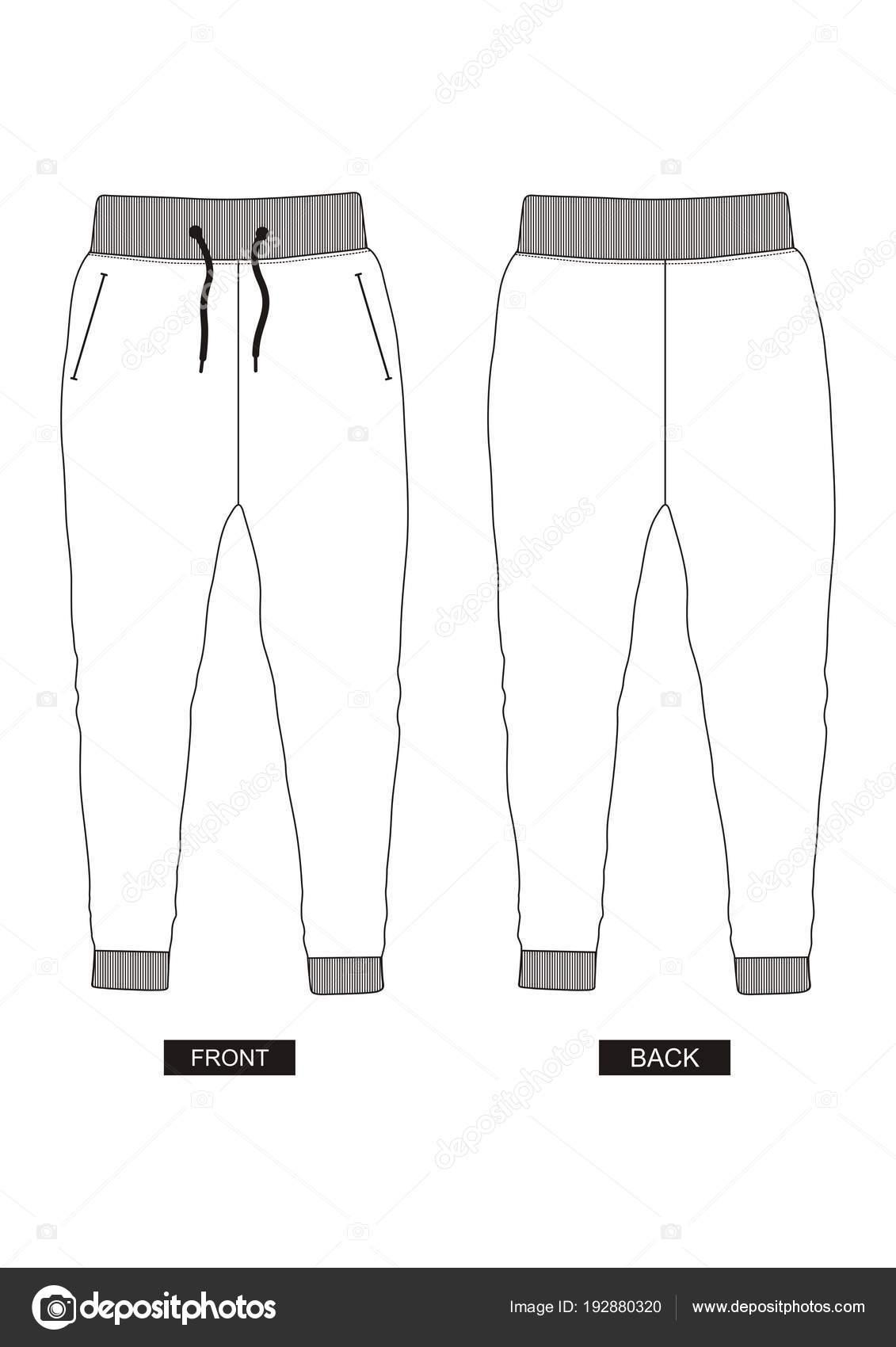 Pants Template   Design Vector Template Pants Collection Men Color Black White