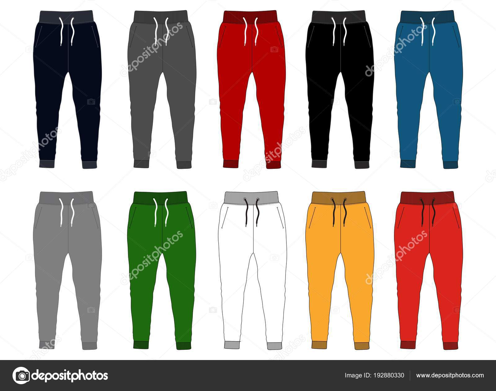 design vector template pants collection for men with color black white vector by d2ptri