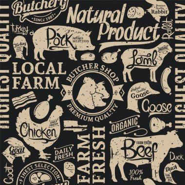 Retro styled typographic vector butchery seamless pattern or bac