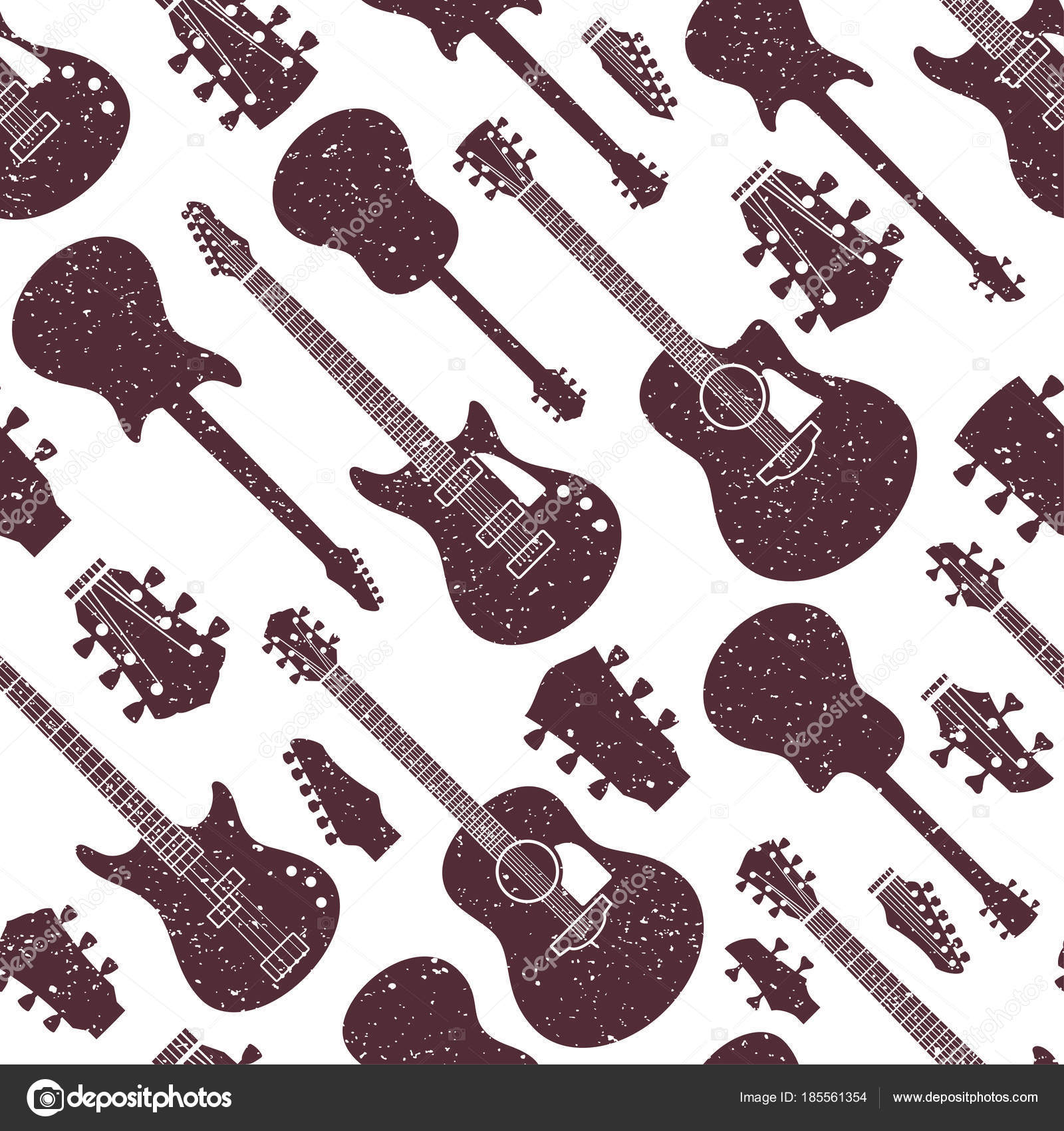 Retro estilo vector guitarras de patrones sin fisuras o fondo ...