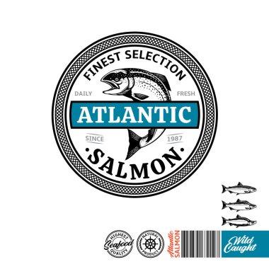 Atlantic salmon logo. Seafood label with sample text. Atlantic, sockeye and pink salmon illustration. Vector logotype design