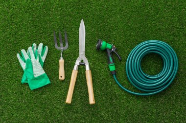 Gardener working and holding pruning shears, hobby and gardening concept