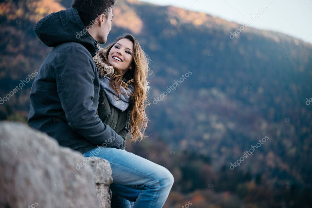 Winter datingRomantic young couple dating in winter