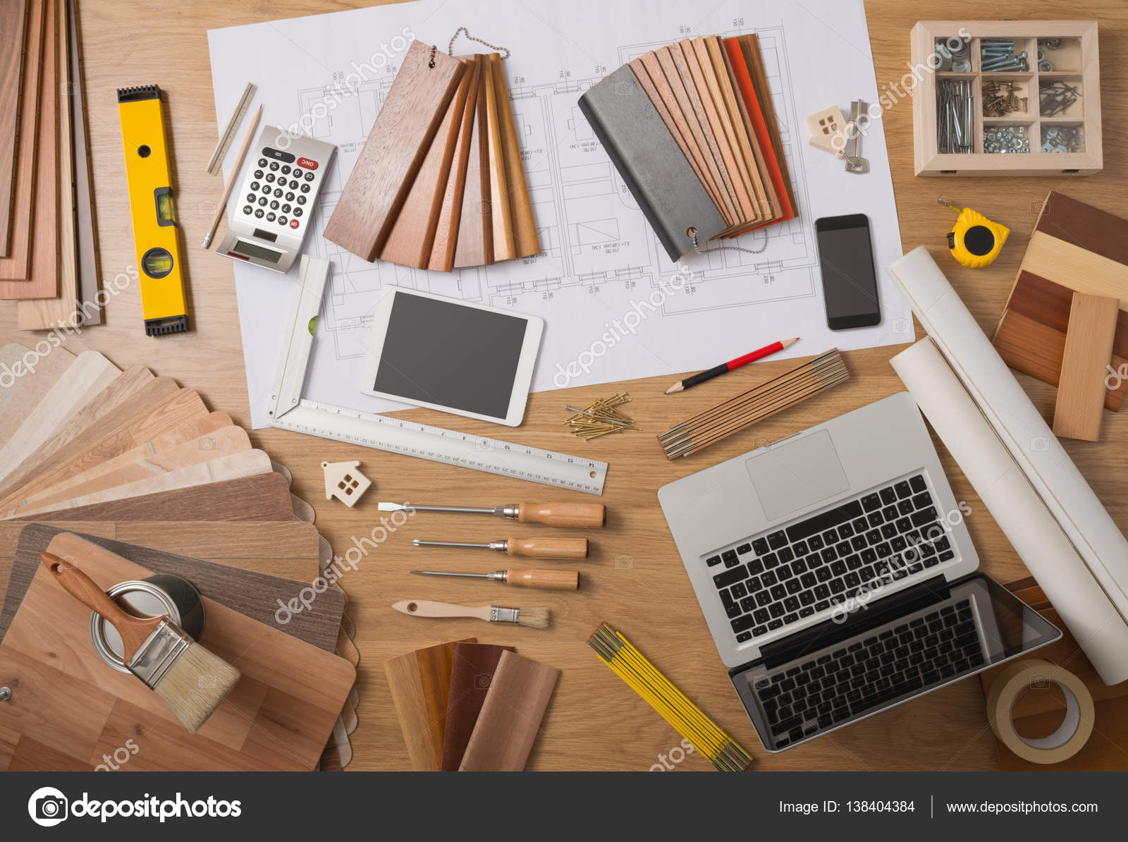 Architect and home interior decorator desktop with tools laptop wood swatches and home project draft top view \u2014 Photo by stockasso & Architect and interior designer work table \u2014 Stock Photo © stockasso ...