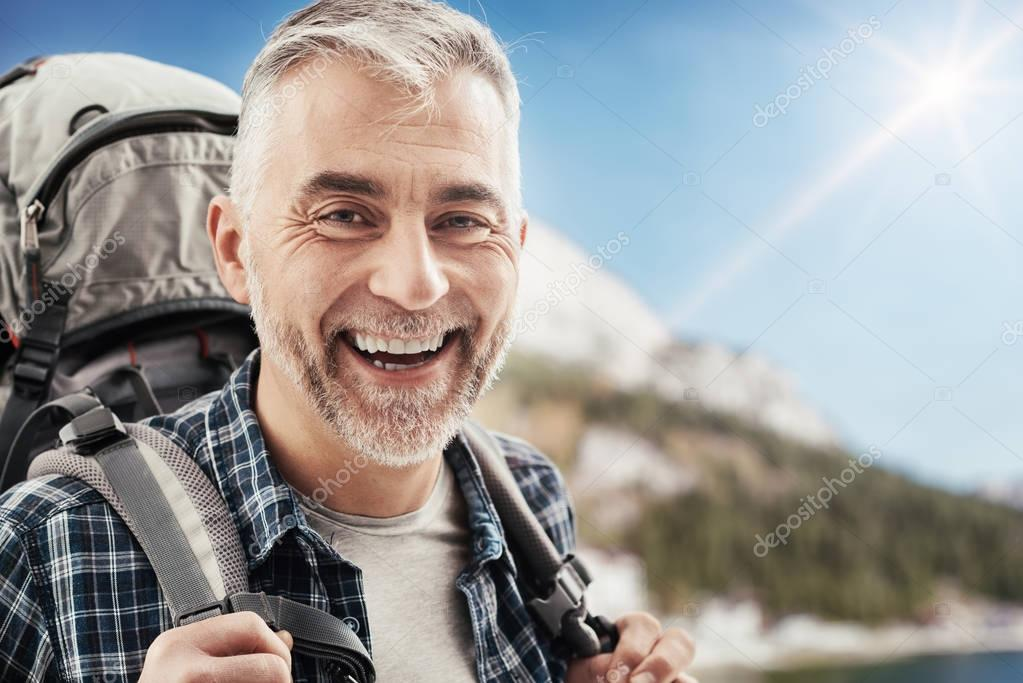 Hiker trekking on the mountains
