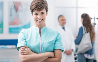 Healthcare professionals at the clinic