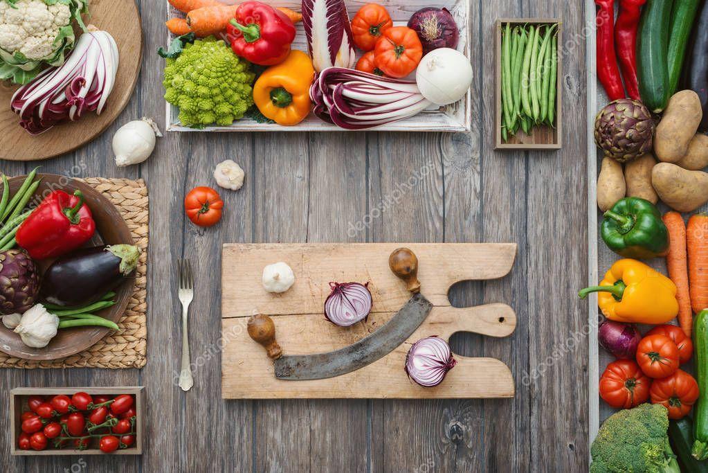 Freshly harvested vegetables in the kitchen