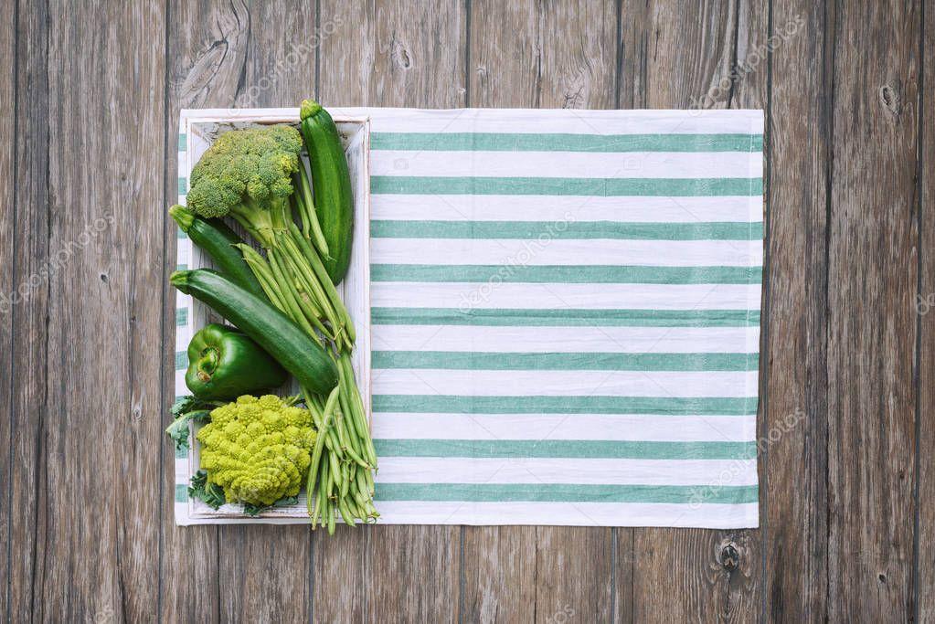 Fresh vegetables on the kitchen worktop