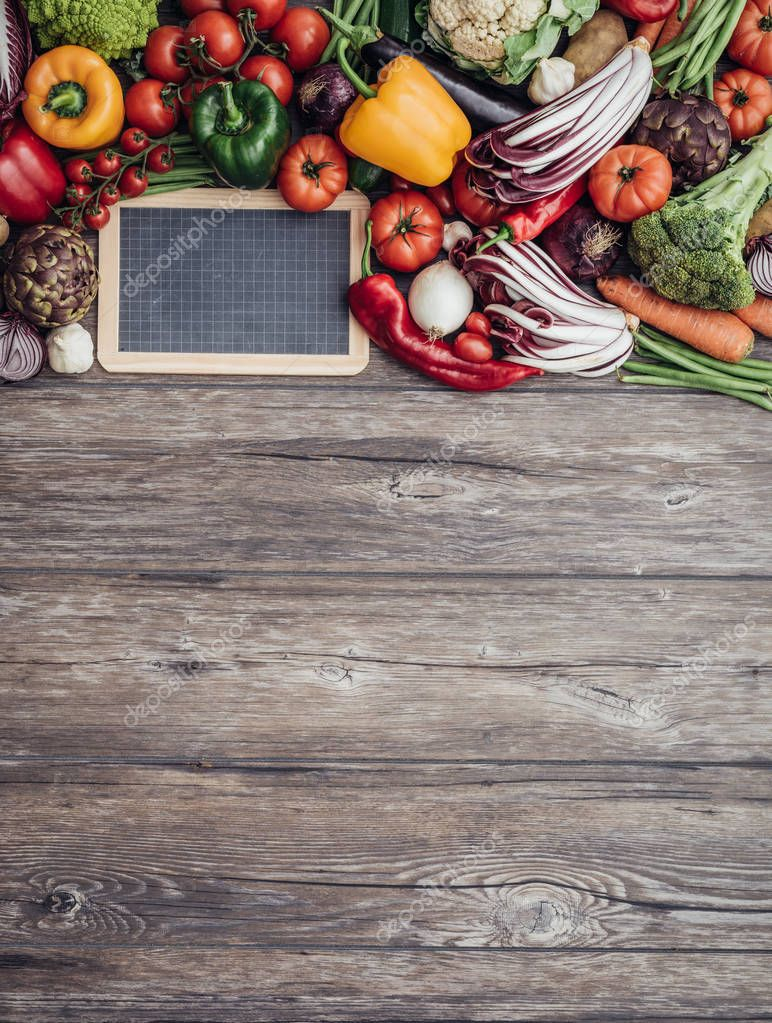 Fresh vegetables on a wooden worktop