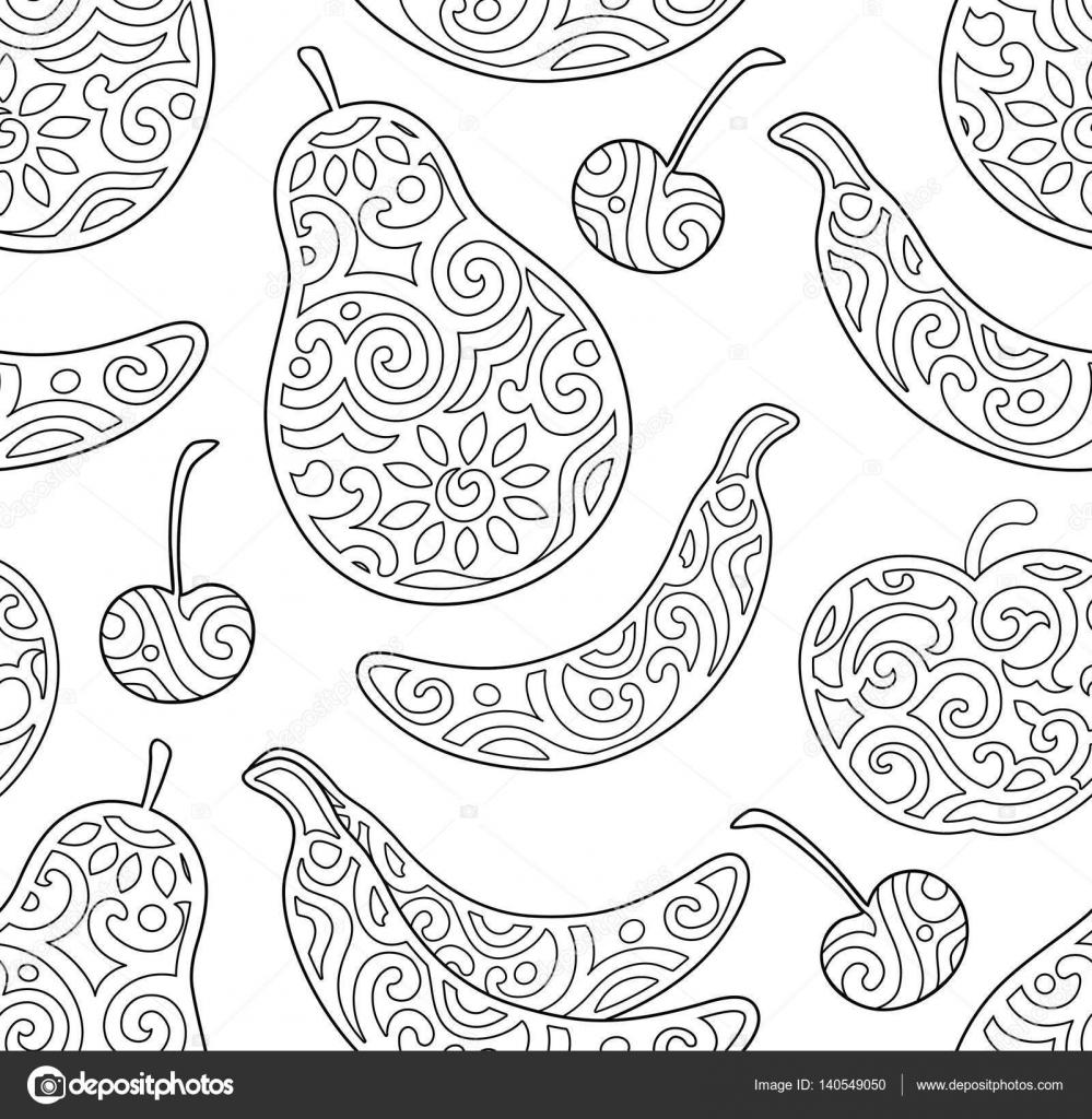 Disegni Da Colorare Per Bambini E Adulti Con La Frutta Vettoriali