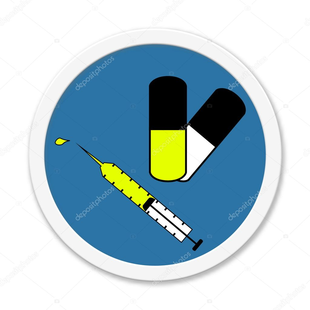 Blue Round Button With Symbol Injection And Pill Stock Photo