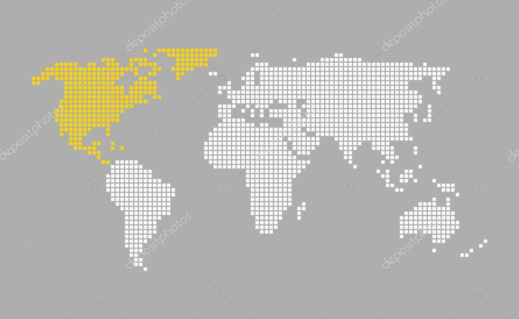 north america modern grey world map with white orange pixels photo by keport