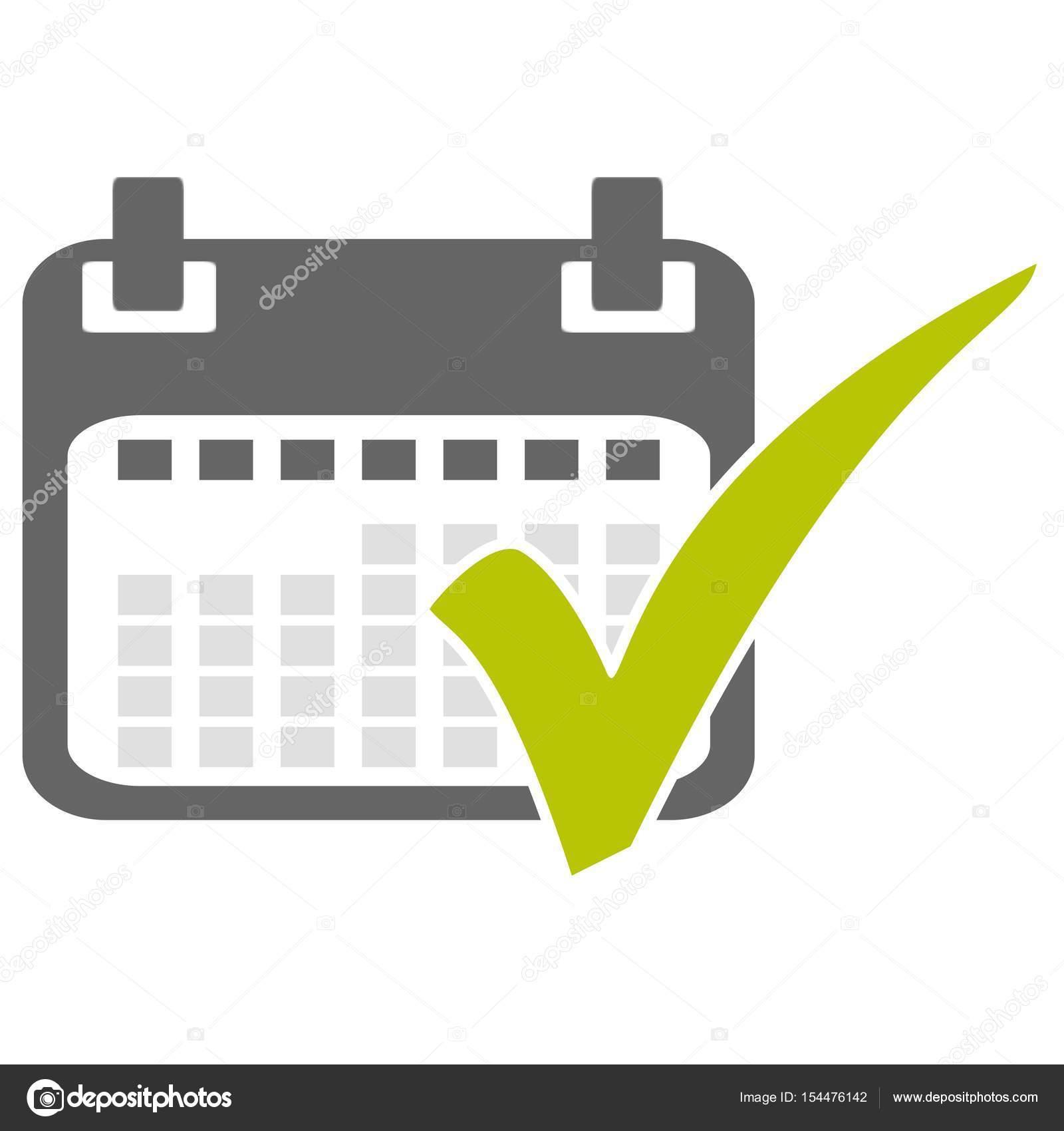 Calendario Con El Tick Verde Fotos De Stock Keport 154476142