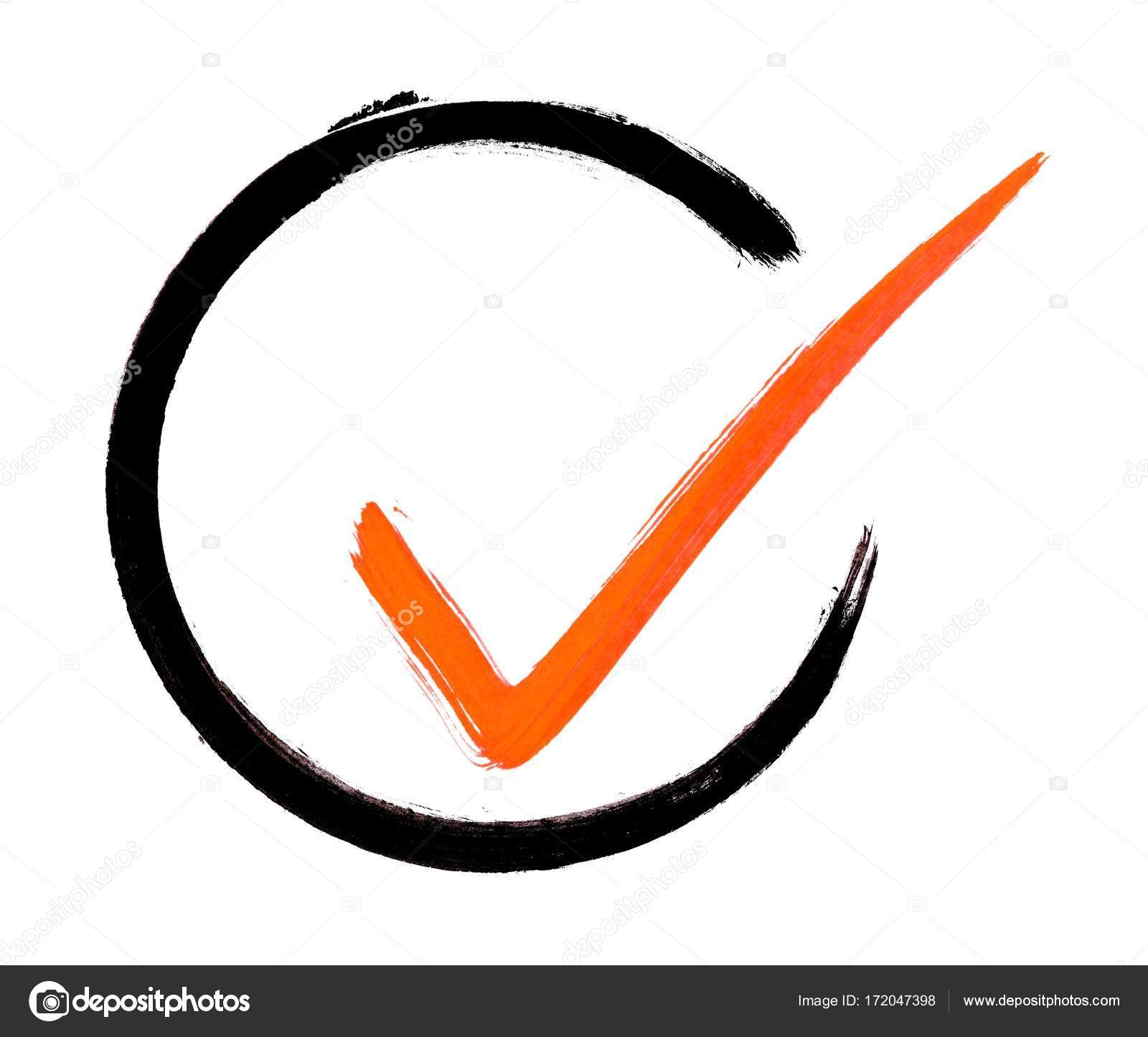 Painted Circle With Red Tick Stock Photo Keport 172047398