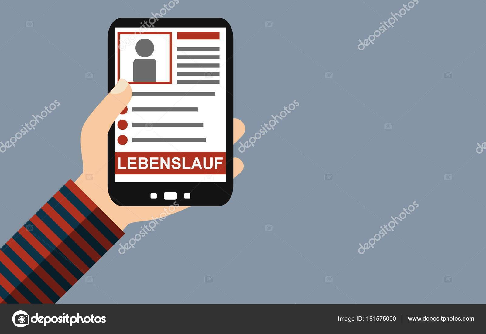 Smartphone Curriculum Vitae German Flat Design Stock Photo