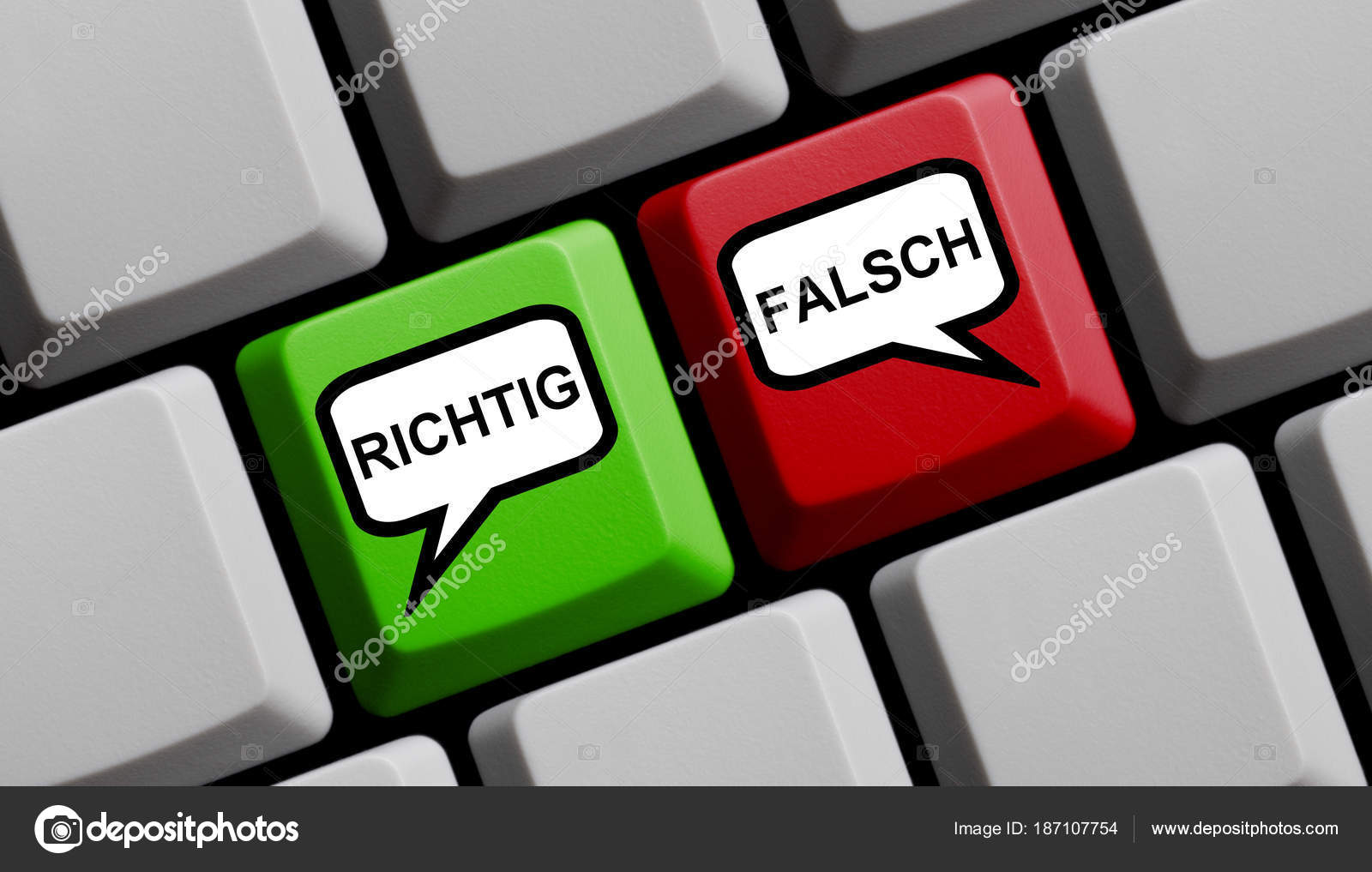 Right Or Wrong German Computer Keyboard Stock Photo Keport