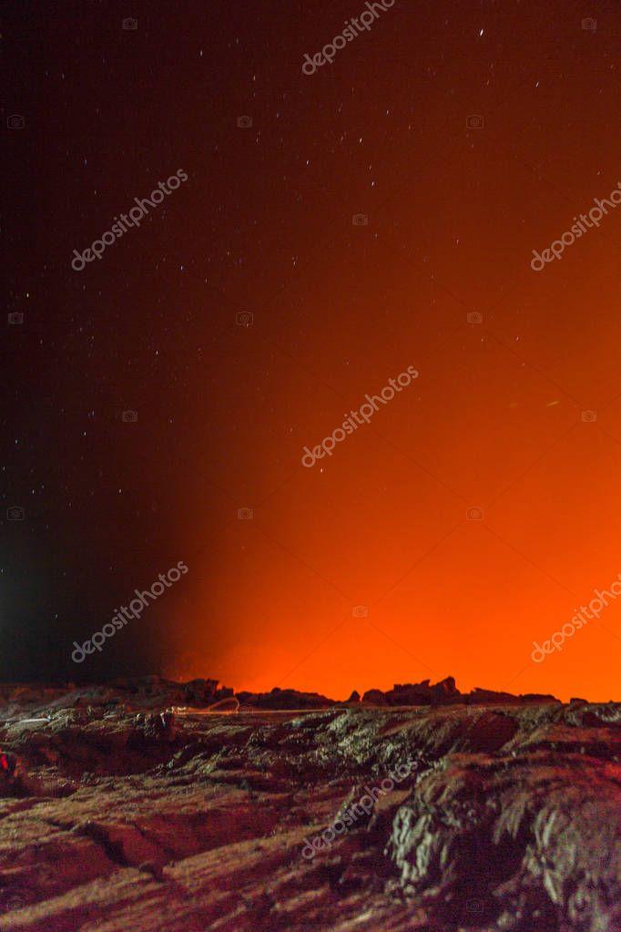 Erta Ale volcano Danakil depression Ethiopia, eruption.