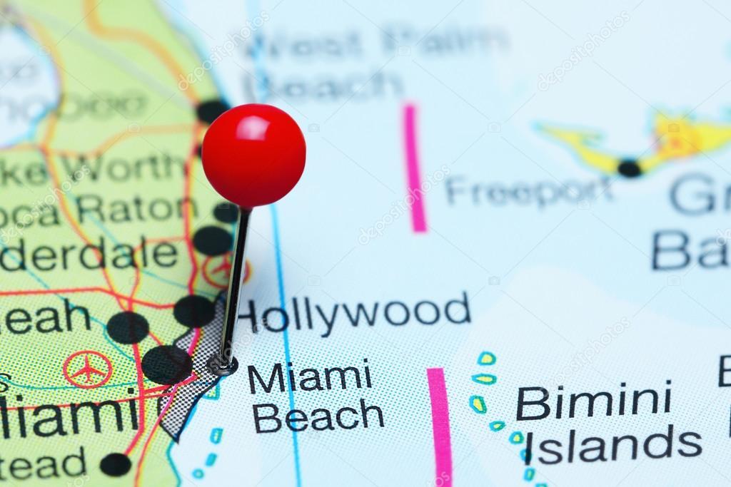 Karte Florida Miami.Miami Beach Fixiert Auf Einer Karte Von Florida Usa
