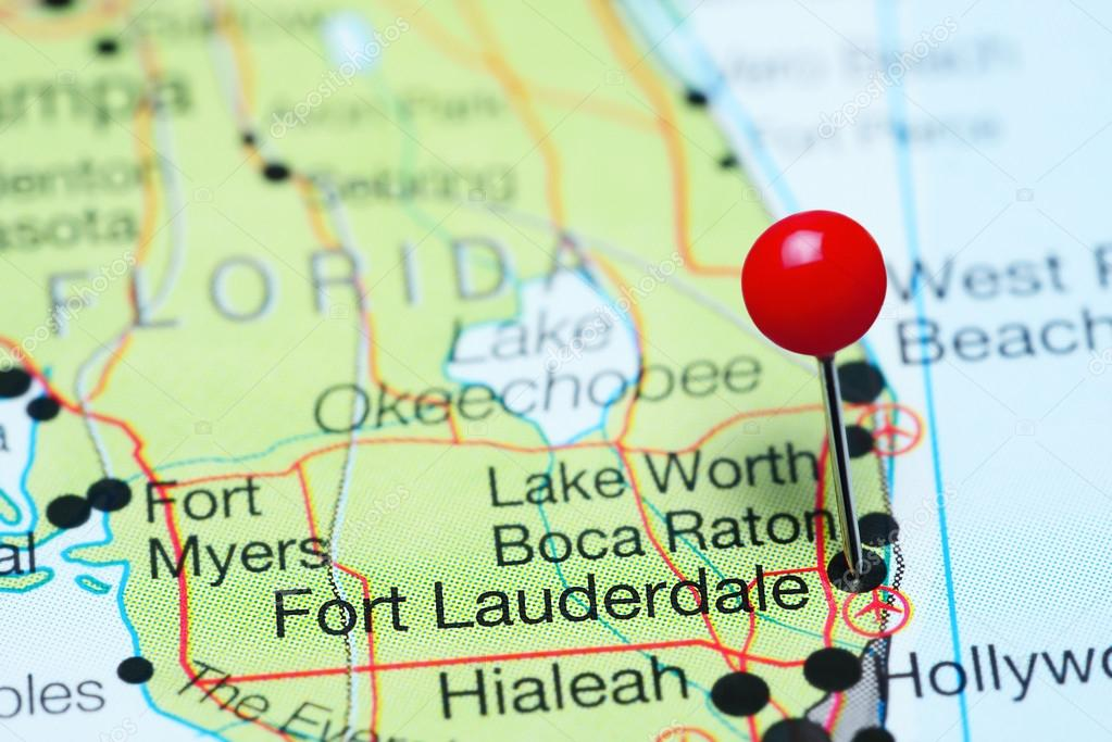 Fort Lauderdale pinned on a map of Florida, USA — Stock ...