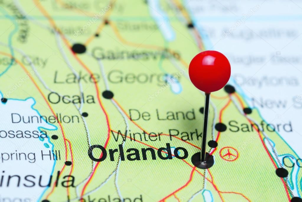 Florida On Usa Map.Orlando Pinned On A Map Of Florida Usa Stock Photo C Dk Photos