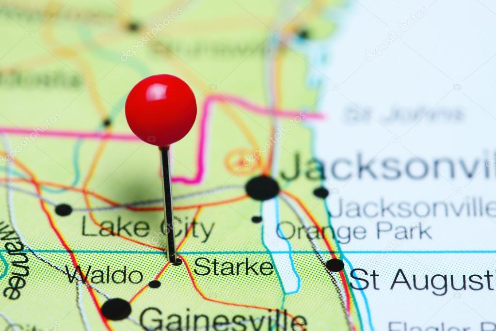 Starke Se Cubrió En Un Mapa De La Florida Usa Fotos De Stock - Mapa de la florida usa
