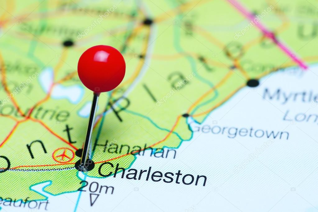 Charleston Pinned On A Map Of South Carolina Usa Stock Photo