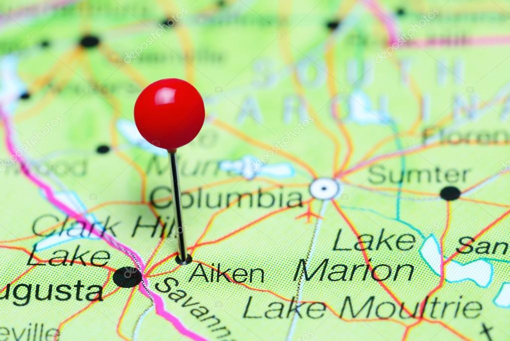 Aiken Pinned On A Map Of South Carolina Usa Stock Photo