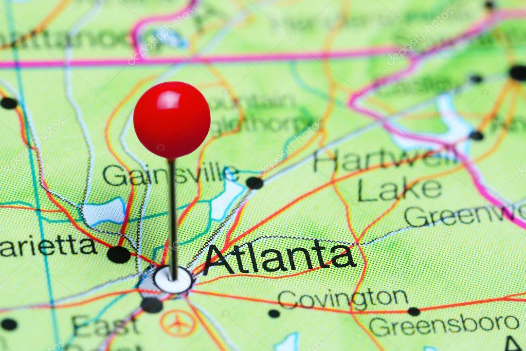 Atlanta Georgia On Map Of Usa.Atlanta Pinned On A Map Of Georgia Usa Stock Photo C Dk Photos