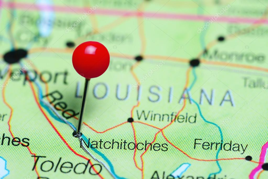 Natchitoches Pinned On A Map Of Louisiana Usa Stock Photo