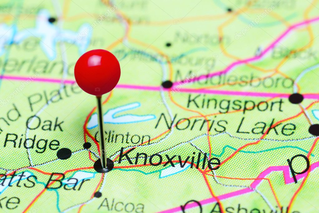 Knoxville pinned on a map of Tennessee USA Stock Photo