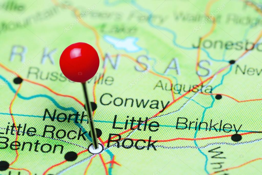 Little Rock pinned on a map of Arkansas, USA — Stock Photo ...