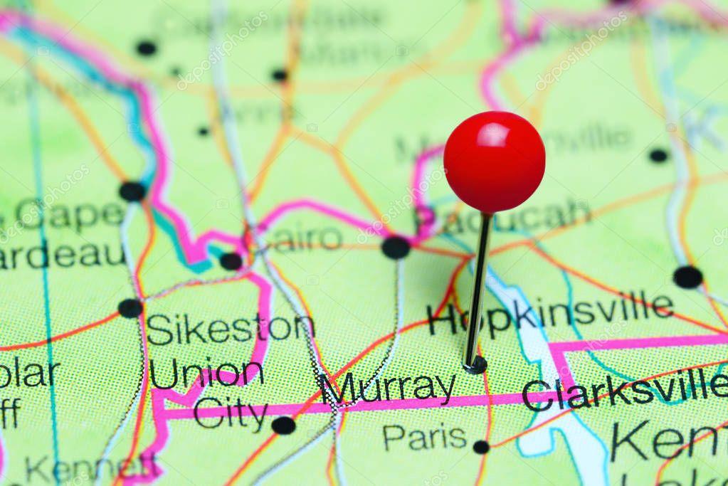 Murray fixiert auf einer Karte von Kentucky, Usa — Stockfoto ...