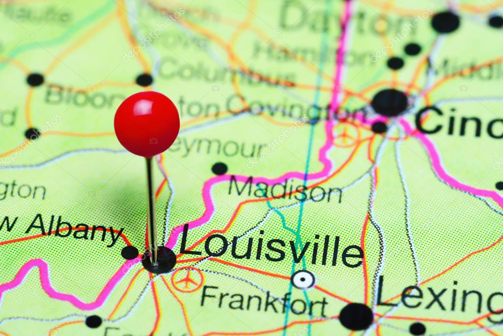 Kentucky On Usa Map.Louisville Pinned On A Map Of Kentucky Usa Stock Photo