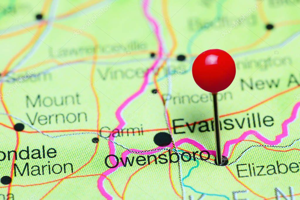 Owensboro pinned on a map of Kentucky, USA — Stock Photo © dk_photos on kentucky cities, kentucky on world map, kentucky maps online, kentucky border, kentucky state map,