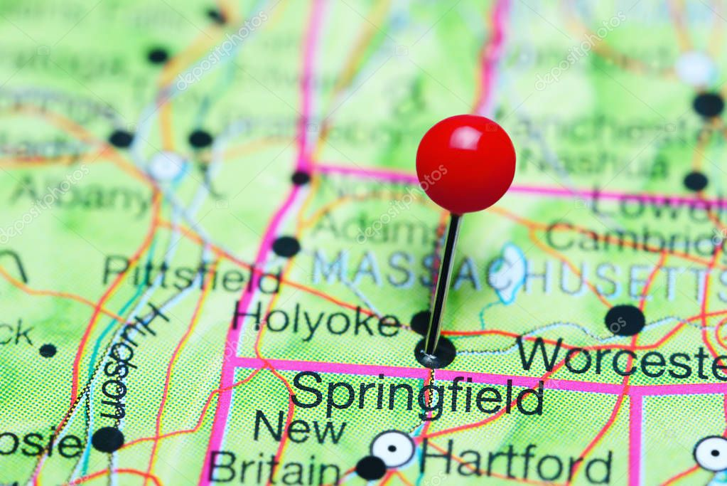 Springfield Usa Map.Springfield Pinned On A Map Of Massachusetts Usa Stock Photo