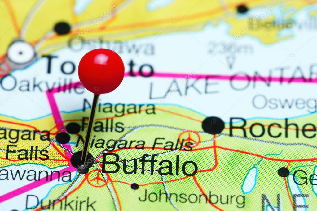 Buffalo Pinned On A Map Of New York State Usa Stock Photo