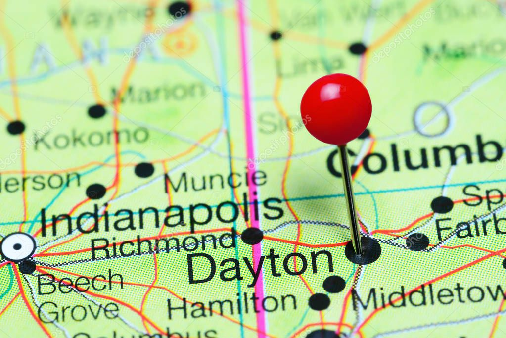 Dayton Pinned On A Map Of Ohio Usa Stock Photo C Dk Photos 130131108