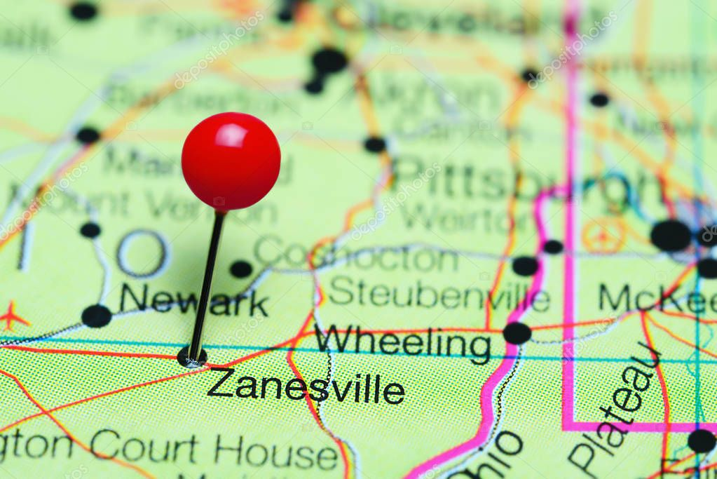 Zanesville Pinned On A Map Of Ohio Usa Stock Photo C Dk Photos
